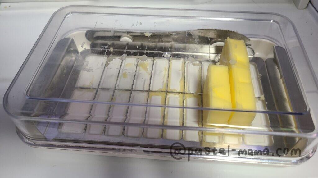 スケーターのステンレスカッター付きバターケース